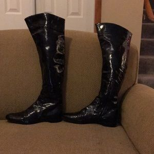 Sergio Rossi patent leather knee-high/OTK boots